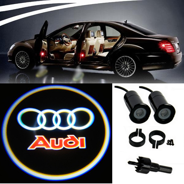 4 audi logo led light bulbs projection courtesy lights. Black Bedroom Furniture Sets. Home Design Ideas