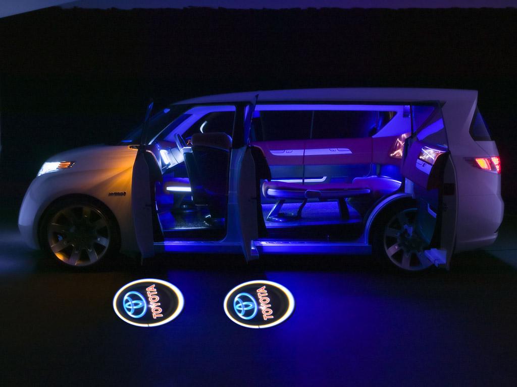 toyota logo car door step courtesy 2mini led light laser projector shadow lights ebay. Black Bedroom Furniture Sets. Home Design Ideas